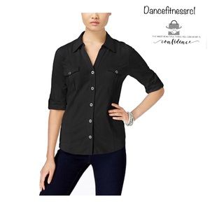 Style & Co Women's Utility Shirt collar Cotton